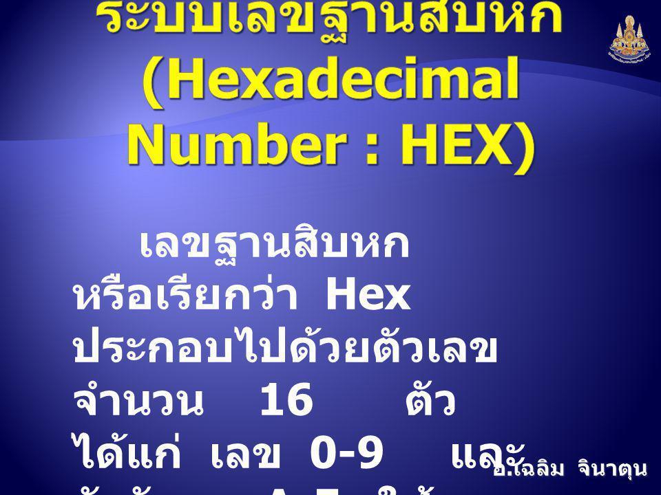 ระบบเลขฐานสิบหก (Hexadecimal Number : HEX)