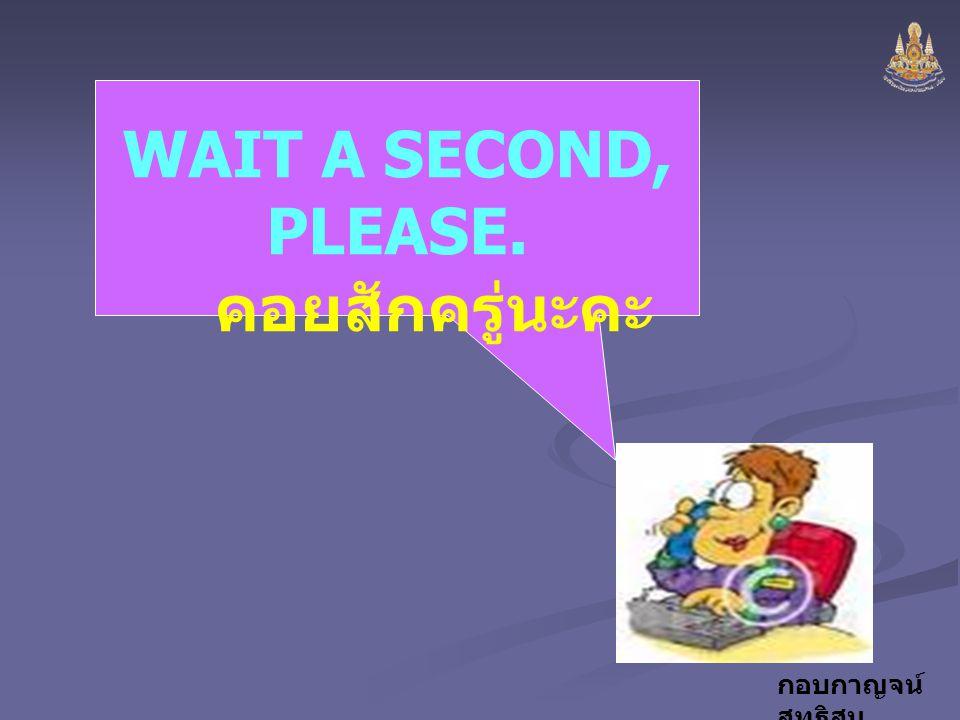 WAIT A SECOND, PLEASE. คอยสักครู่นะคะ