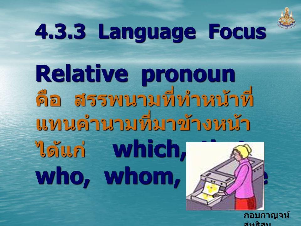 4.3.3 Language Focus Relative pronoun คือ สรรพนามที่ทำหน้าที่แทนคำนามที่มาข้างหน้า ได้แก่ which, that, who, whom, whose.