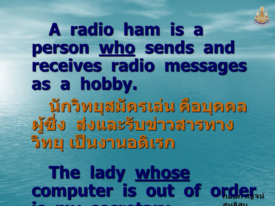 A radio ham is a person who sends and receives radio messages as a hobby.