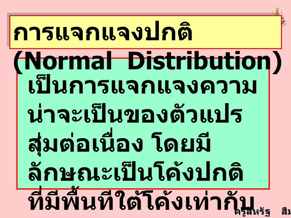 การแจกแจงปกติ (Normal Distribution)