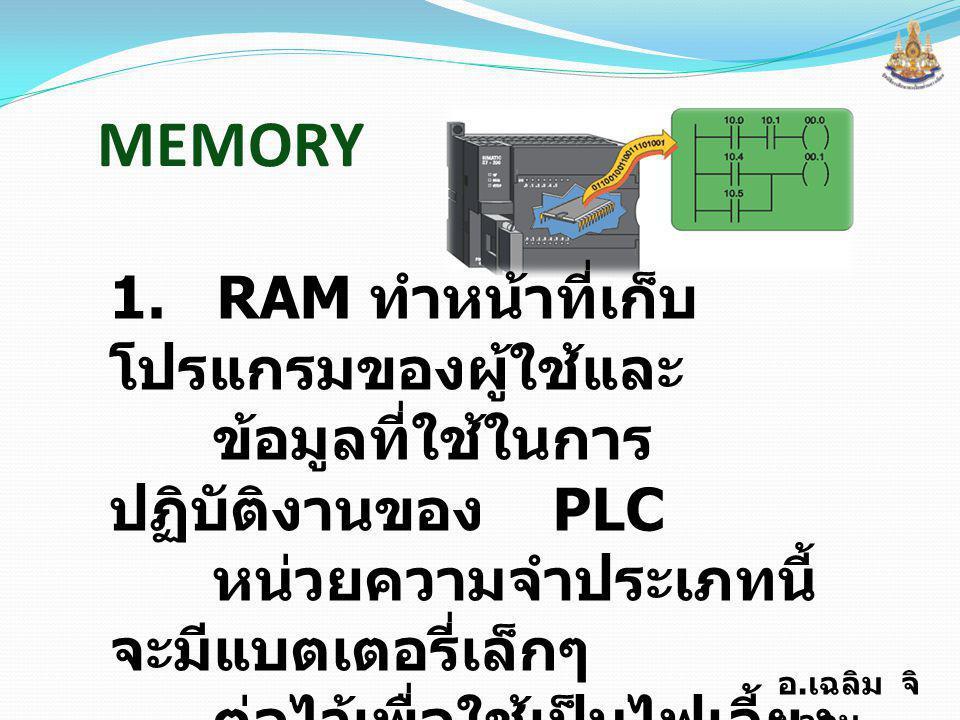 MEMORY 1. RAM ทำหน้าที่เก็บโปรแกรมของผู้ใช้และ
