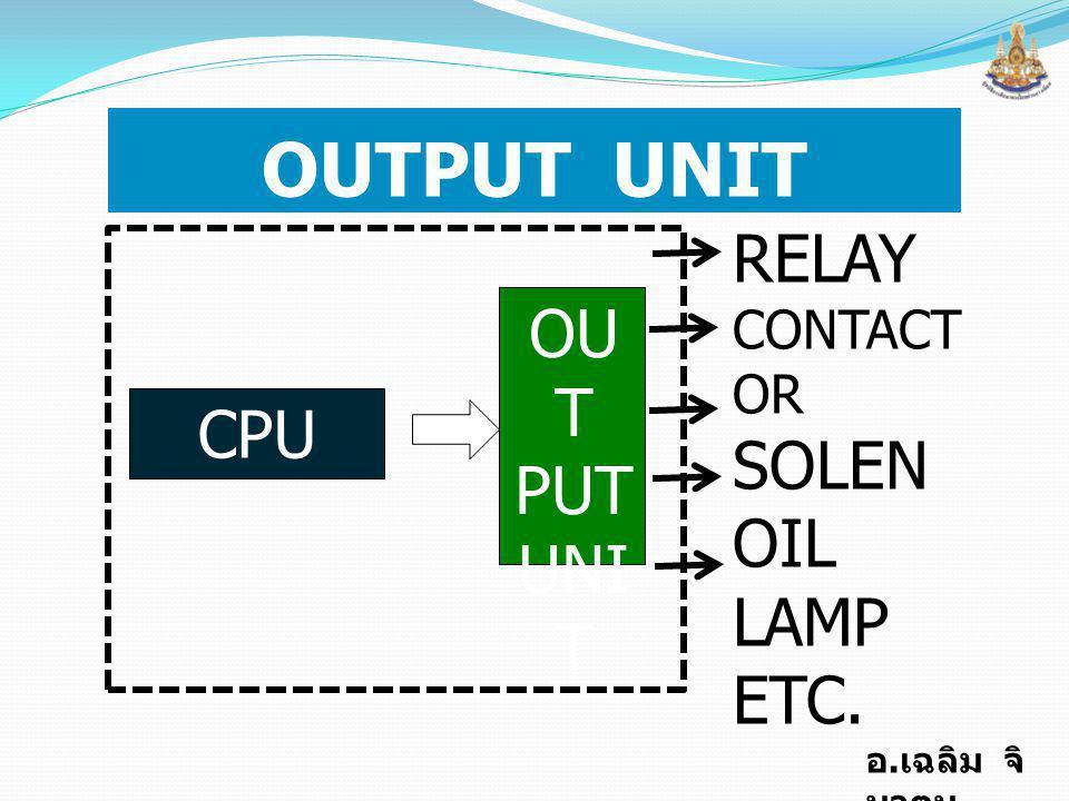 OUTPUT UNIT RELAY CONTACTOR SOLENOIL LAMP ETC. CPU OUT PUT UNIT