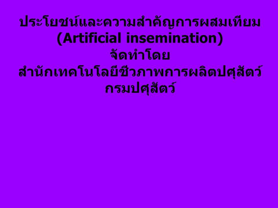 (Artificial insemination) สำนักเทคโนโลยีชีวภาพการผลิตปศุสัตว์