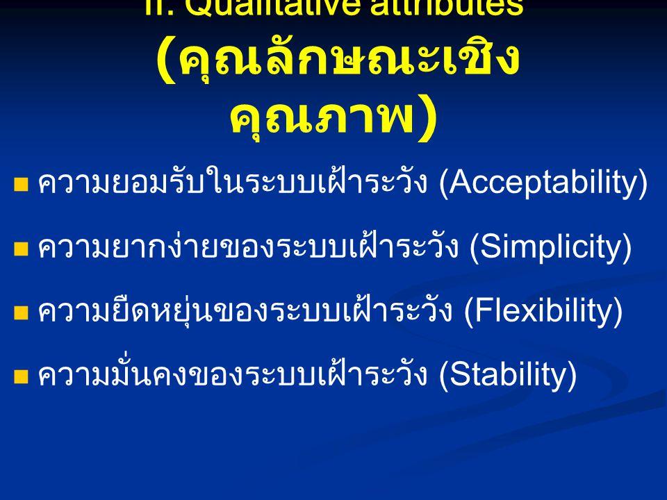 II. Qualitative attributes (คุณลักษณะเชิงคุณภาพ)