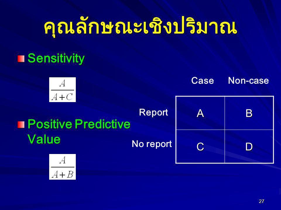 คุณลักษณะเชิงปริมาณ Sensitivity Positive Predictive Value A B C D Case