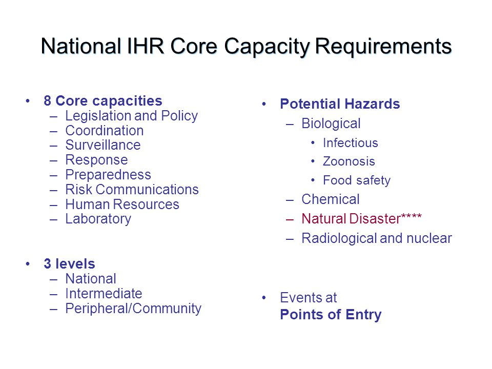 National IHR Core Capacity Requirements