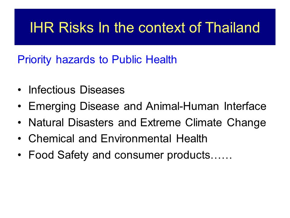 IHR Risks In the context of Thailand