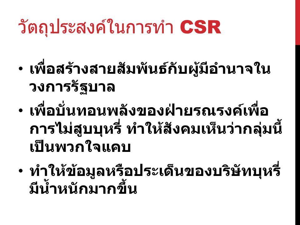 วัตถุประสงค์ในการทำ CSR