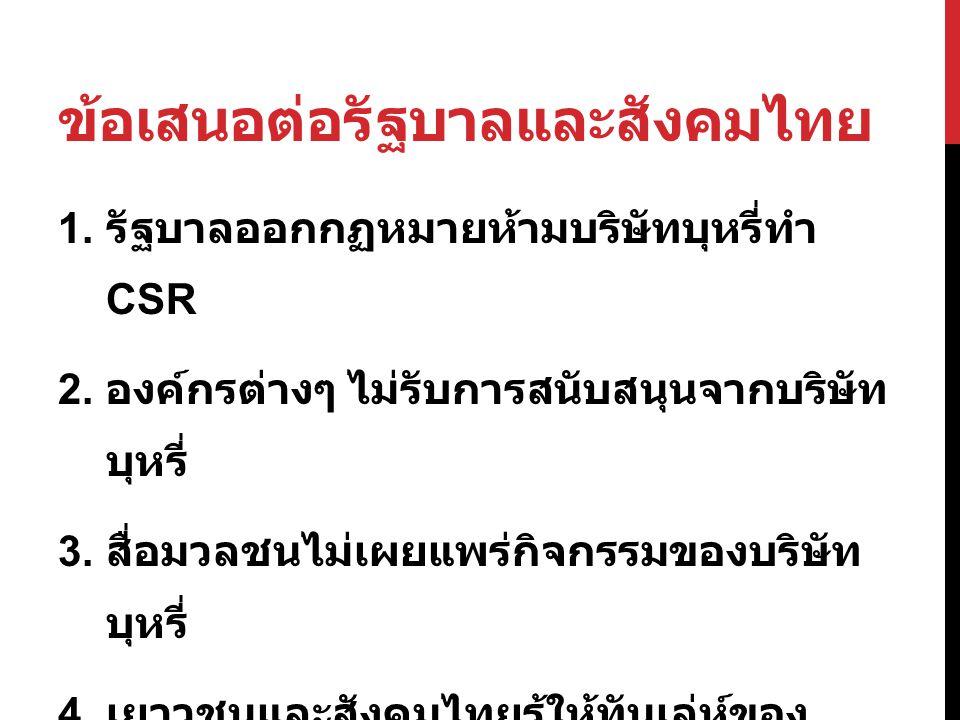 ข้อเสนอต่อรัฐบาลและสังคมไทย