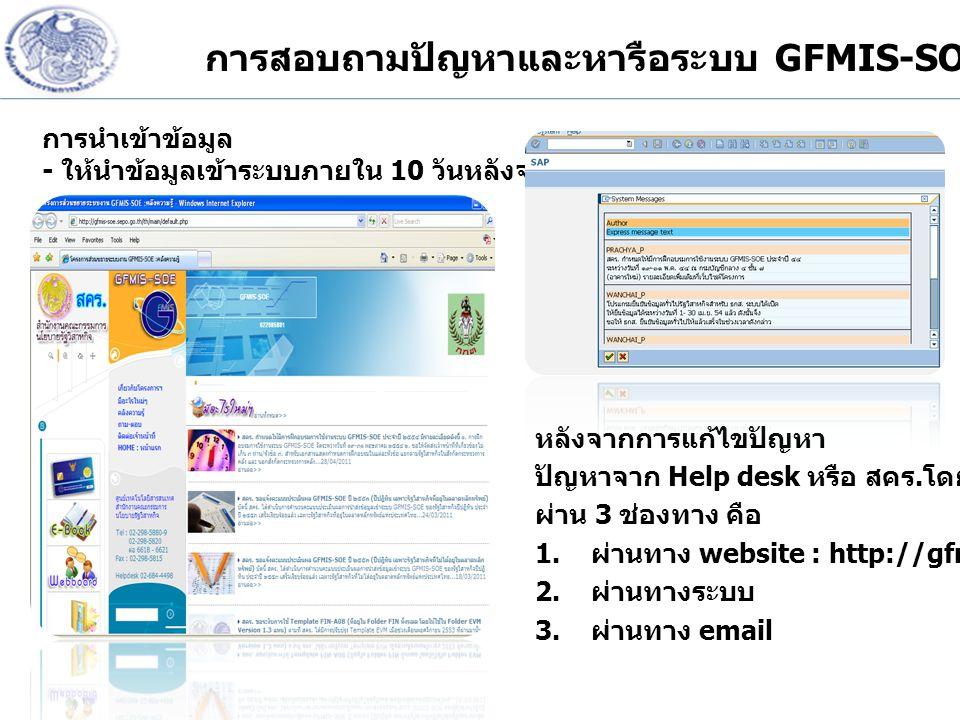 การสอบถามปัญหาและหารือระบบ GFMIS-SOE
