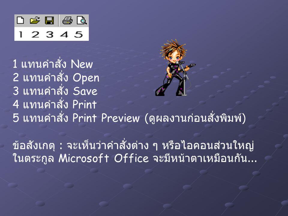 1 แทนคำสั่ง New 2 แทนคำสั่ง Open 3 แทนคำสั่ง Save 4 แทนคำสั่ง Print 5 แทนคำสั่ง Print Preview (ดูผลงานก่อนสั่งพิมพ์) ข้อสังเกตุ : จะเห็นว่าคำสั่งต่าง ๆ หรือไอคอนส่วนใหญ่ ในตระกูล Microsoft Office จะมีหน้าตาเหมือนกัน...