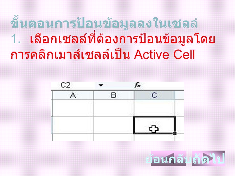 ขั้นตอนการป้อนข้อมูลลงในเซลล์ 1