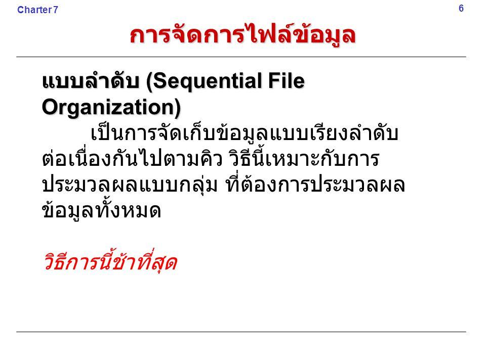 การจัดการไฟล์ข้อมูล แบบลำดับ (Sequential File Organization)