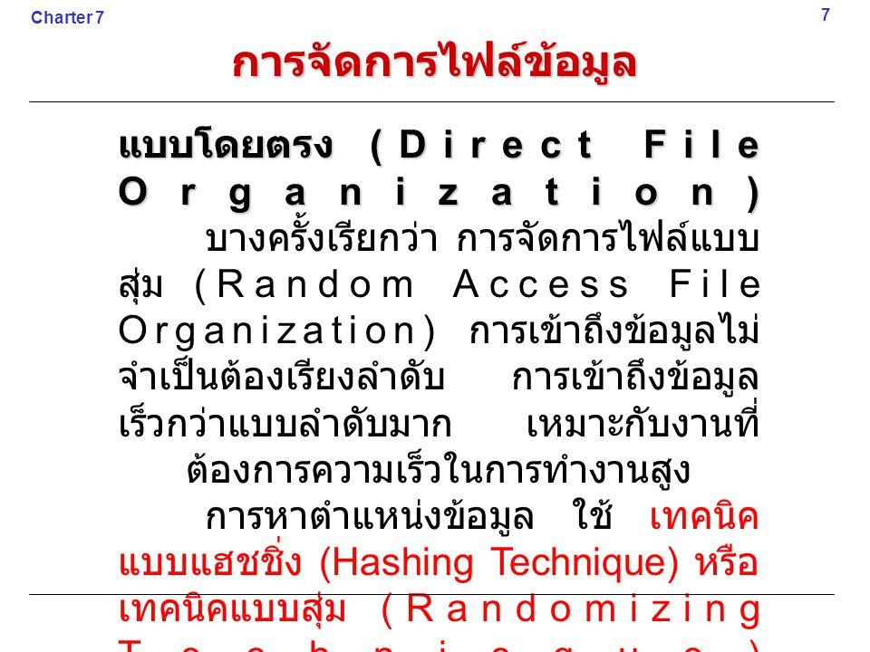 การจัดการไฟล์ข้อมูล แบบโดยตรง (Direct File Organization)