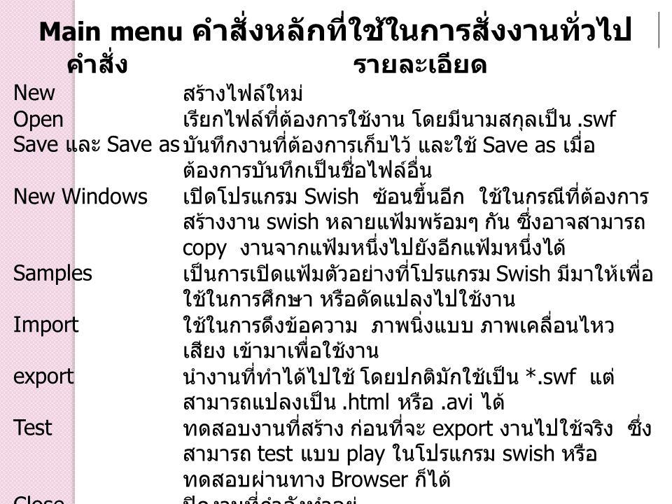 Main menu คำสั่งหลักที่ใช้ในการสั่งงานทั่วไป