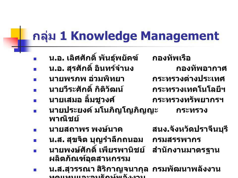 กลุ่ม 1 Knowledge Management
