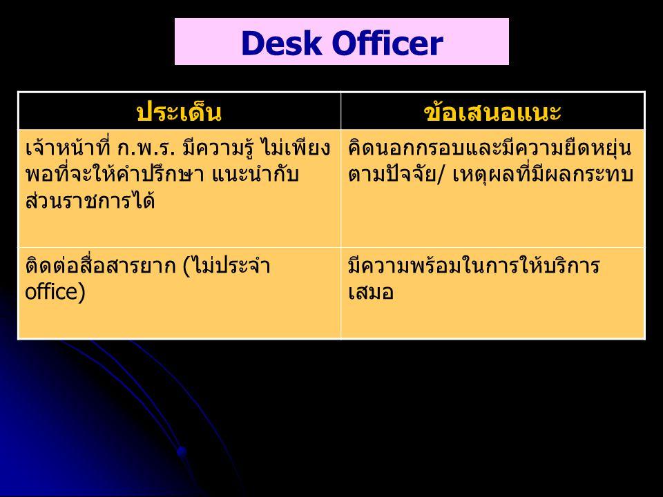 Desk Officer ประเด็น ข้อเสนอแนะ
