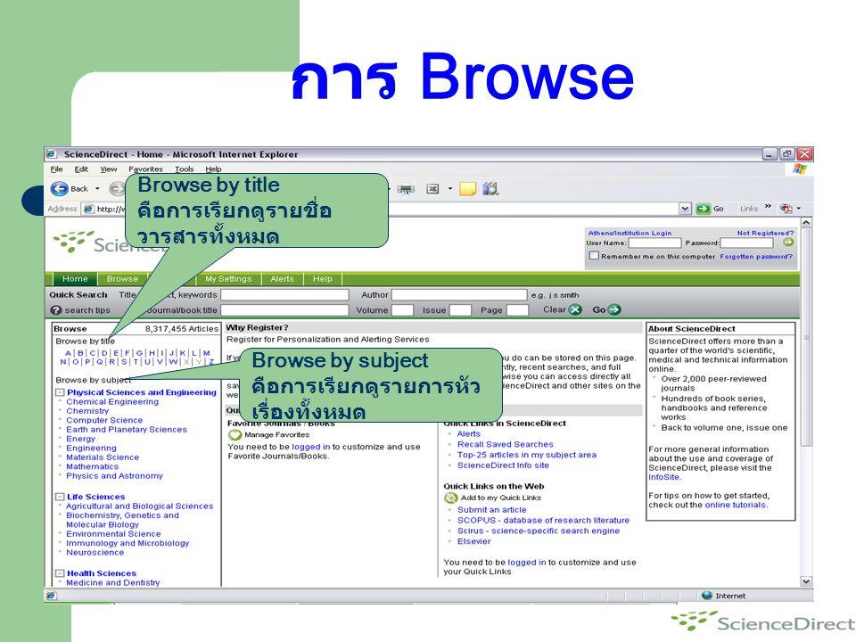 การ Browse Browse by title คือการเรียกดูรายชื่อวารสารทั้งหมด