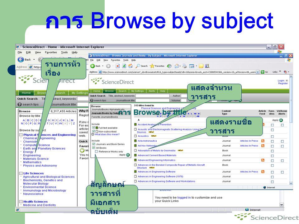 การ Browse by subject รายการหัวเรื่อง แสดงจำนวนวารสาร