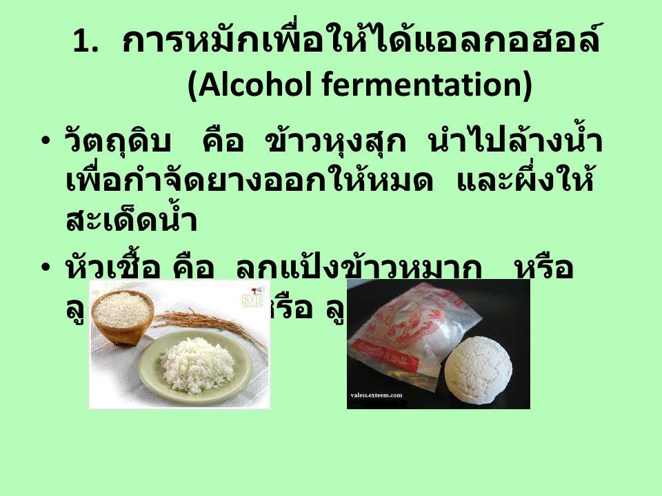1. การหมักเพื่อให้ได้แอลกอฮอล์ (Alcohol fermentation)
