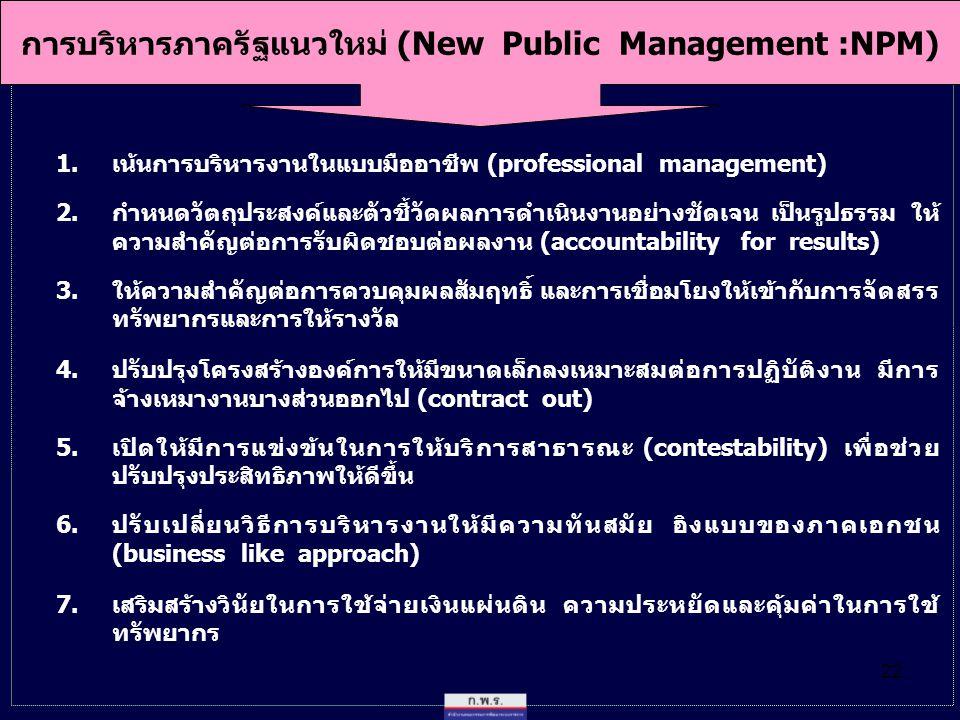 การบริหารภาครัฐแนวใหม่ (New Public Management :NPM)