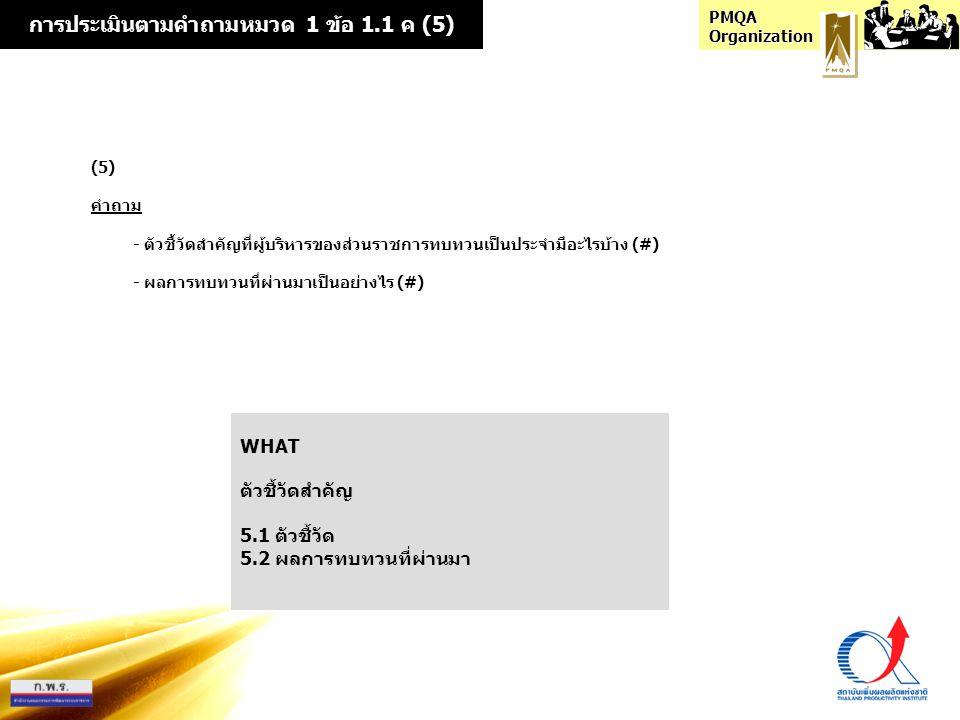 การประเมินตามคำถามหมวด 1 ข้อ 1.1 ค (5)