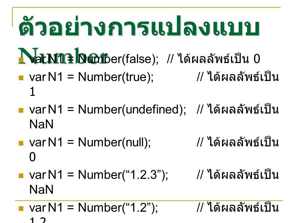 ตัวอย่างการแปลงแบบ Number