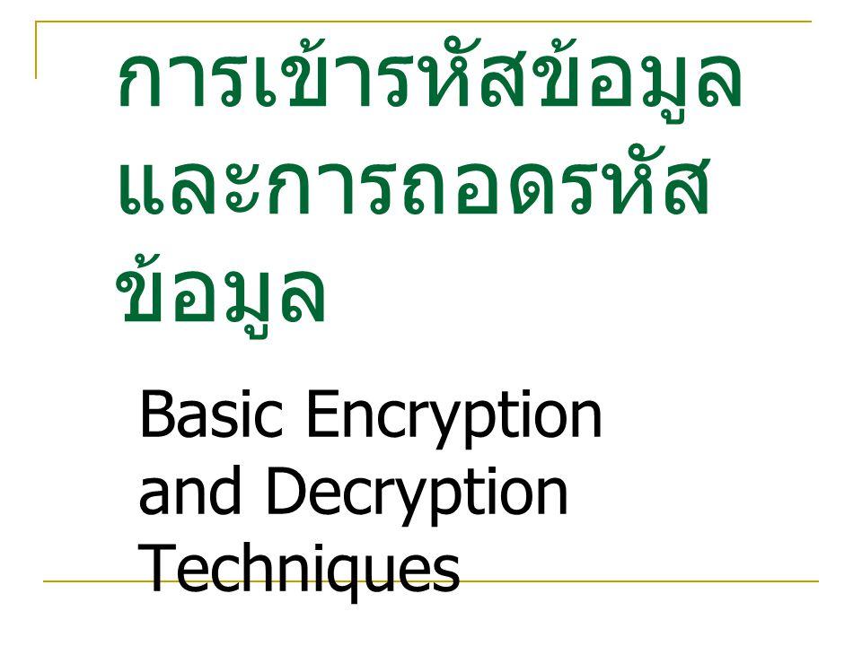 การเข้ารหัสข้อมูลและการถอดรหัสข้อมูล