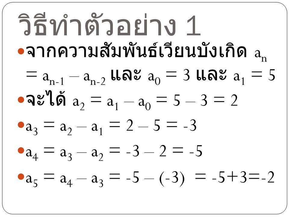 วิธีทำตัวอย่าง 1 จากความสัมพันธ์เวียนบังเกิด an = an-1 – an- 2 และ a0 = 3 และ a1 = 5. จะได้ a2 = a1 – a0 = 5 – 3 = 2.