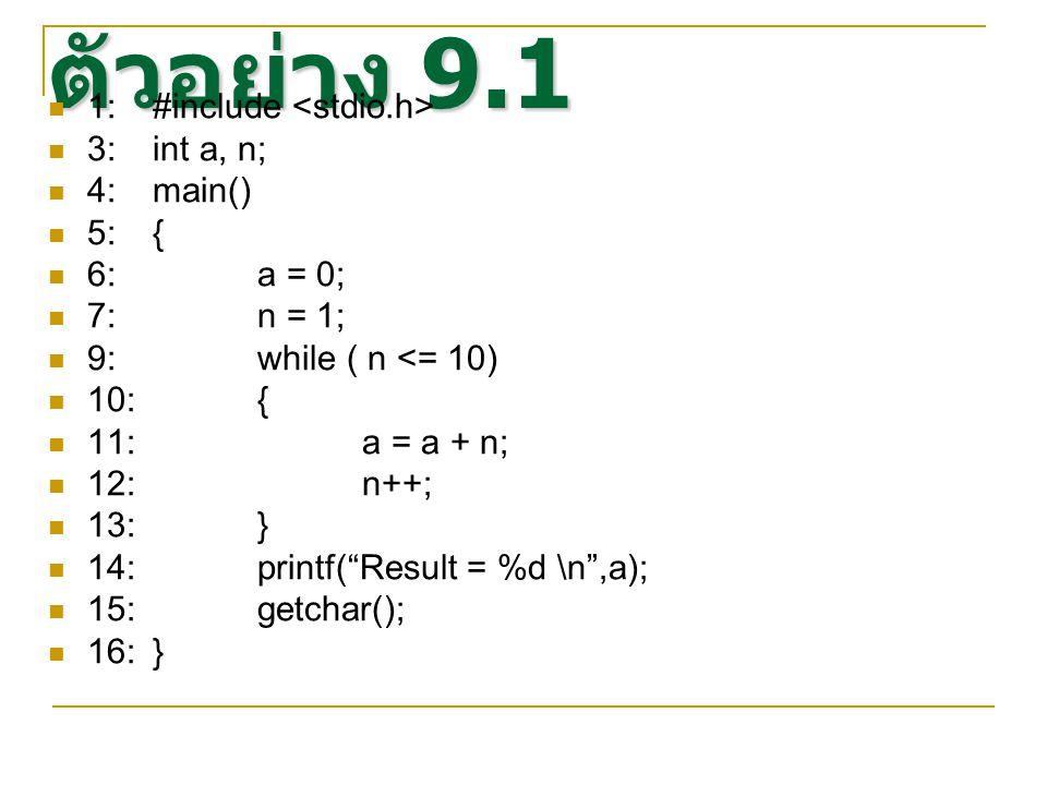 ตัวอย่าง 9.1 1: #include <stdio.h> 3: int a, n; 4: main() 5: {