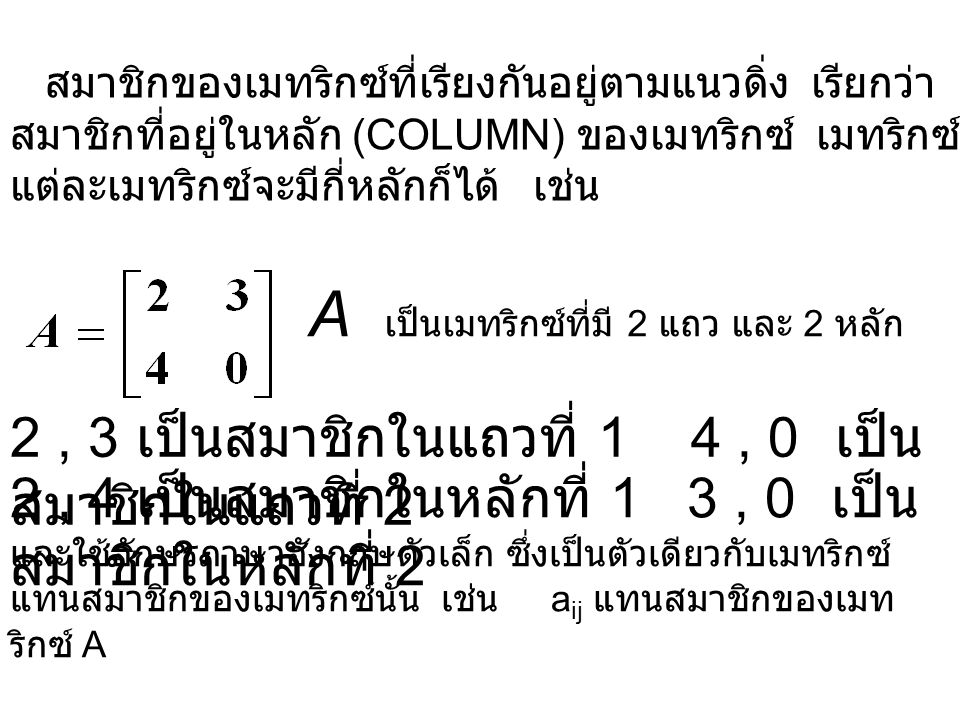 A เป็นเมทริกซ์ที่มี 2 แถว และ 2 หลัก