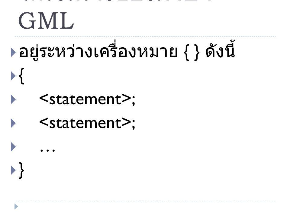 โครงสร้างของภาษา GML อยู่ระหว่างเครื่องหมาย { } ดังนี้ {