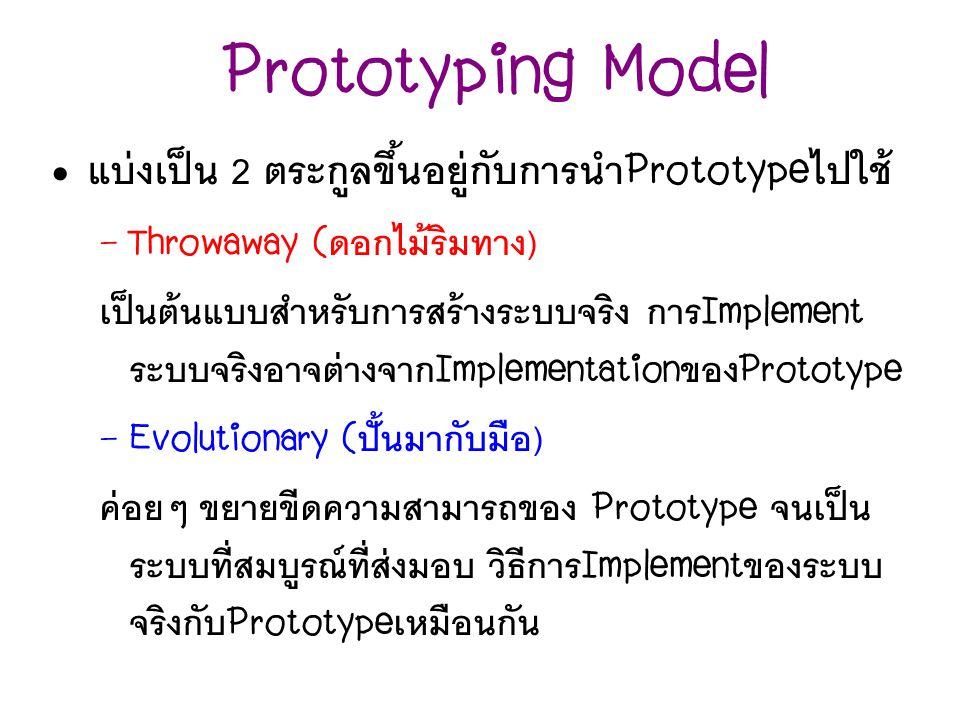 Prototyping Model แบ่งเป็น 2 ตระกูลขึ้นอยู่กับการนำPrototypeไปใช้