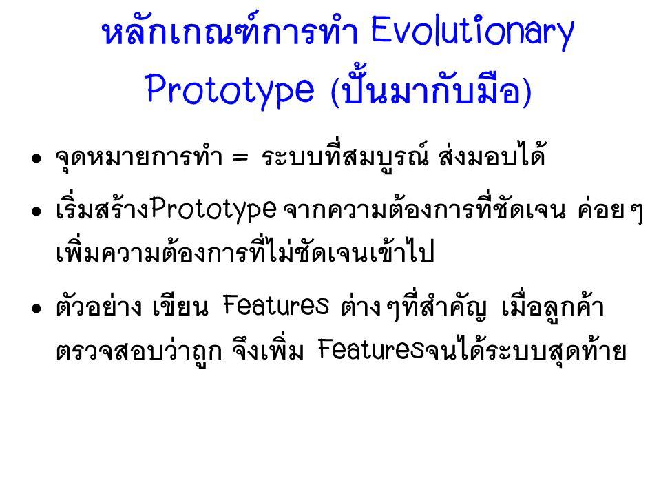 หลักเกณฑ์การทำ Evolutionary Prototype (ปั้นมากับมือ)