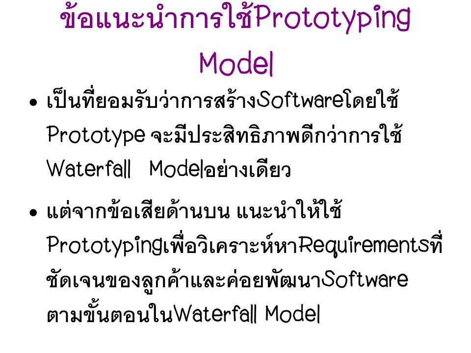 ข้อแนะนำการใช้Prototyping Model