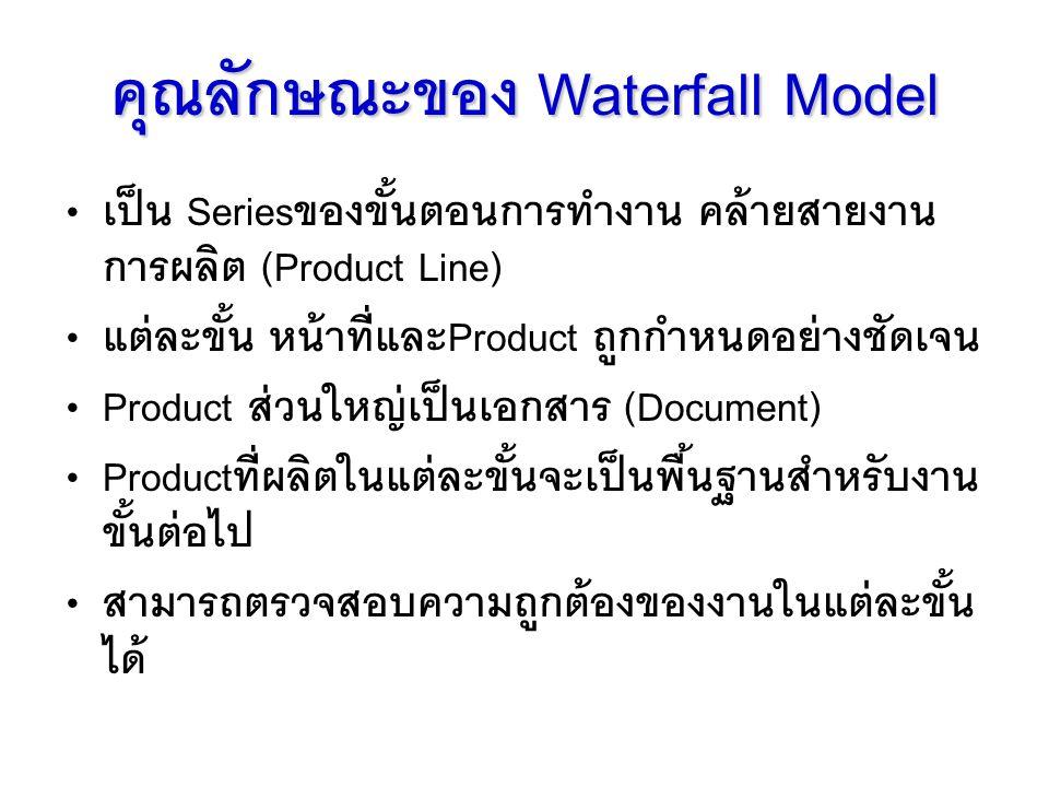 คุณลักษณะของ Waterfall Model