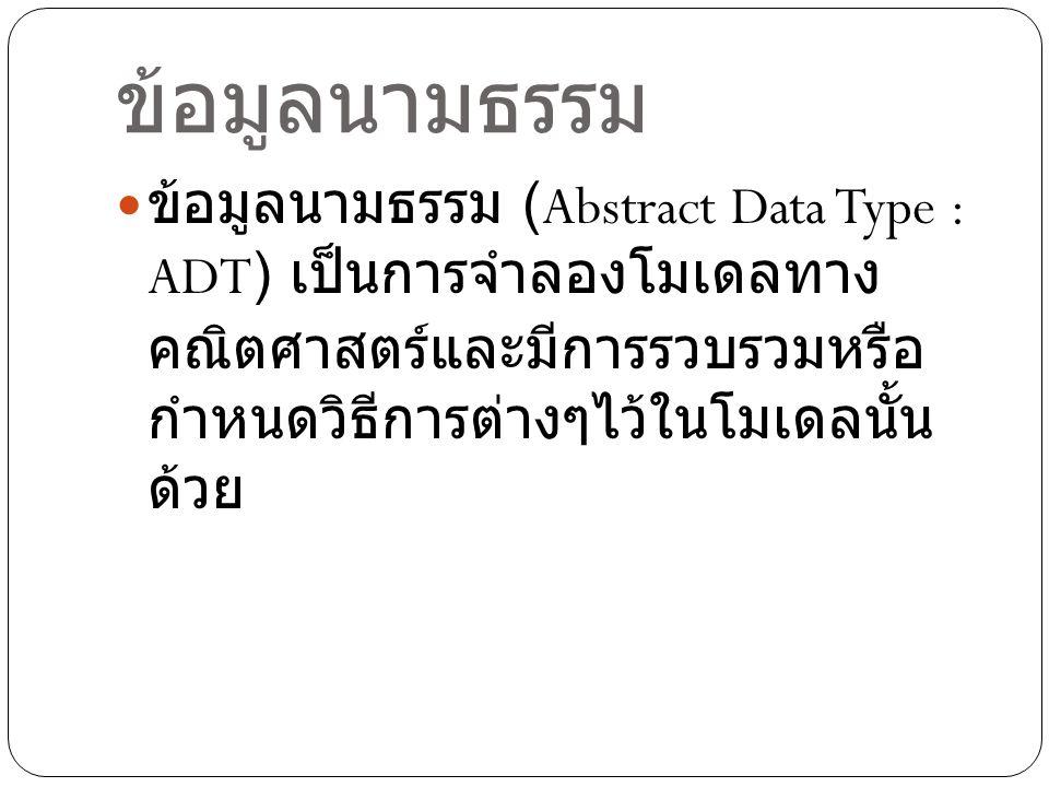 ข้อมูลนามธรรม ข้อมูลนามธรรม (Abstract Data Type : ADT) เป็นการจำลองโมเดลทางคณิตศาสตร์และมีการ รวบรวมหรือกำหนดวิธีการต่างๆไว้ในโมเดลนั้นด้วย.