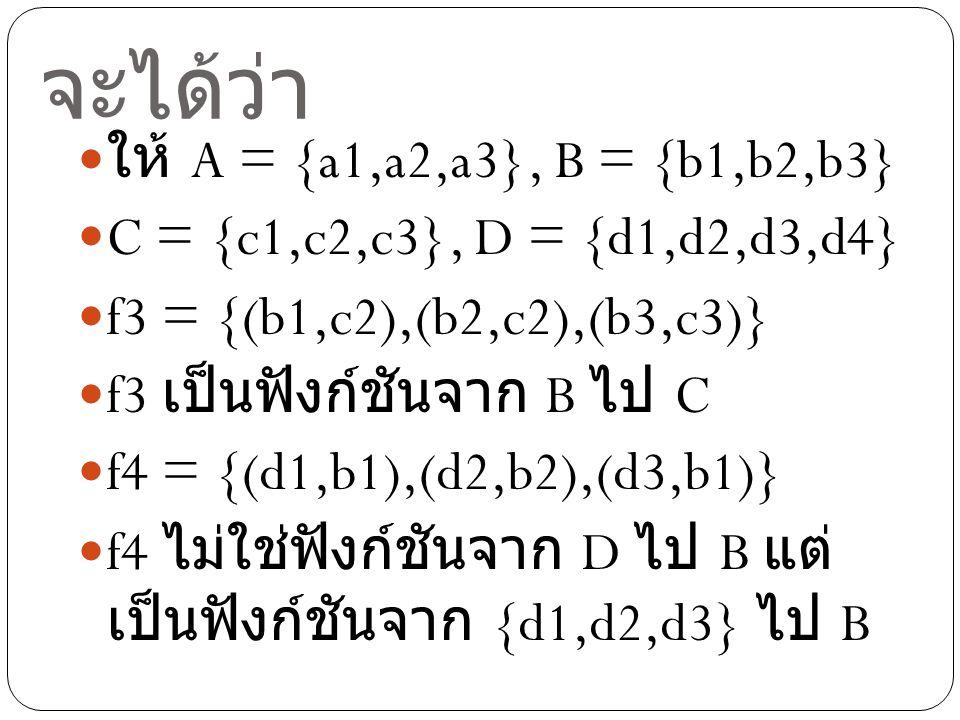 จะได้ว่า ให้ A = {a1,a2,a3}, B = {b1,b2,b3}