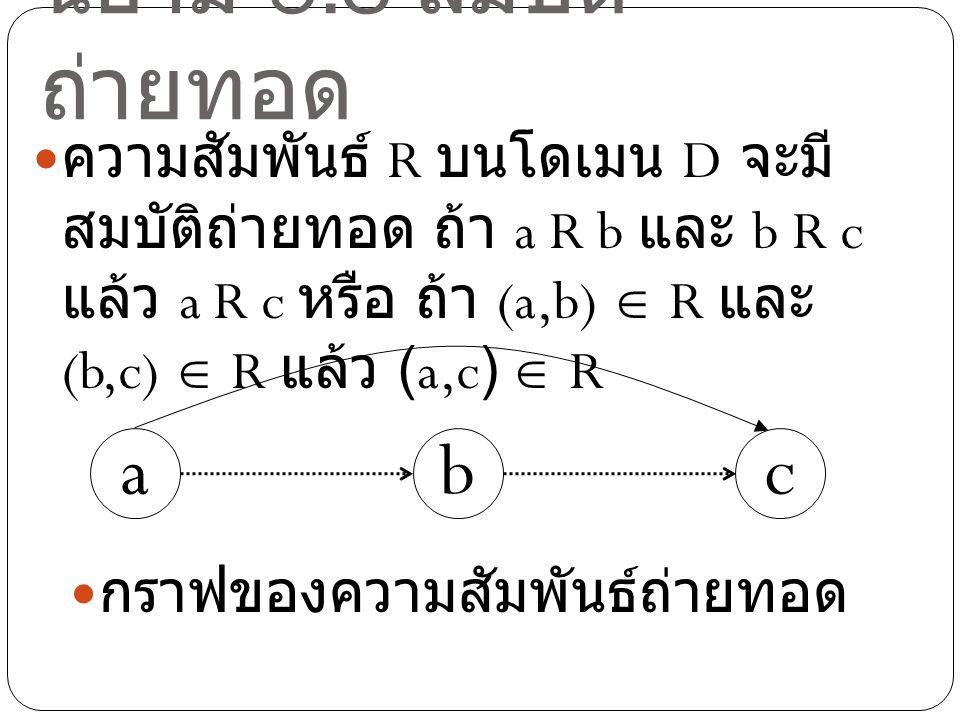 นิยาม 5.3 สมบัติถ่ายทอด a b c