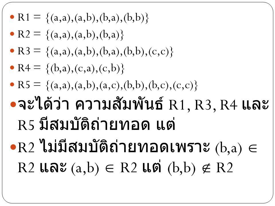 จะได้ว่า ความสัมพันธ์ R1, R3, R4 และ R5 มี สมบัติถ่ายทอด แต่