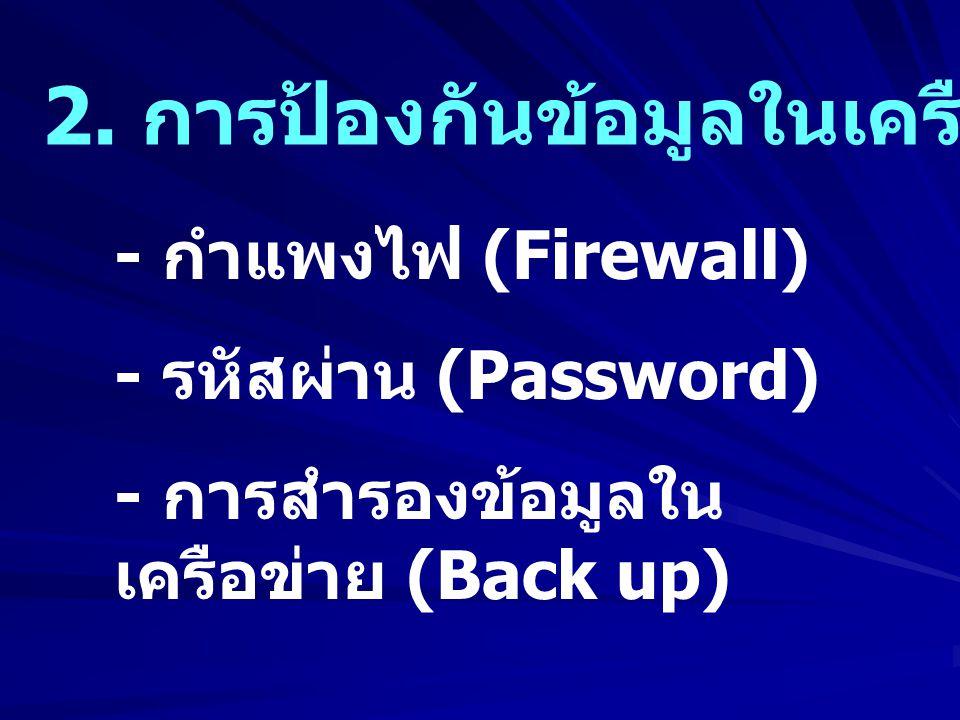 2. การป้องกันข้อมูลในเครือข่าย