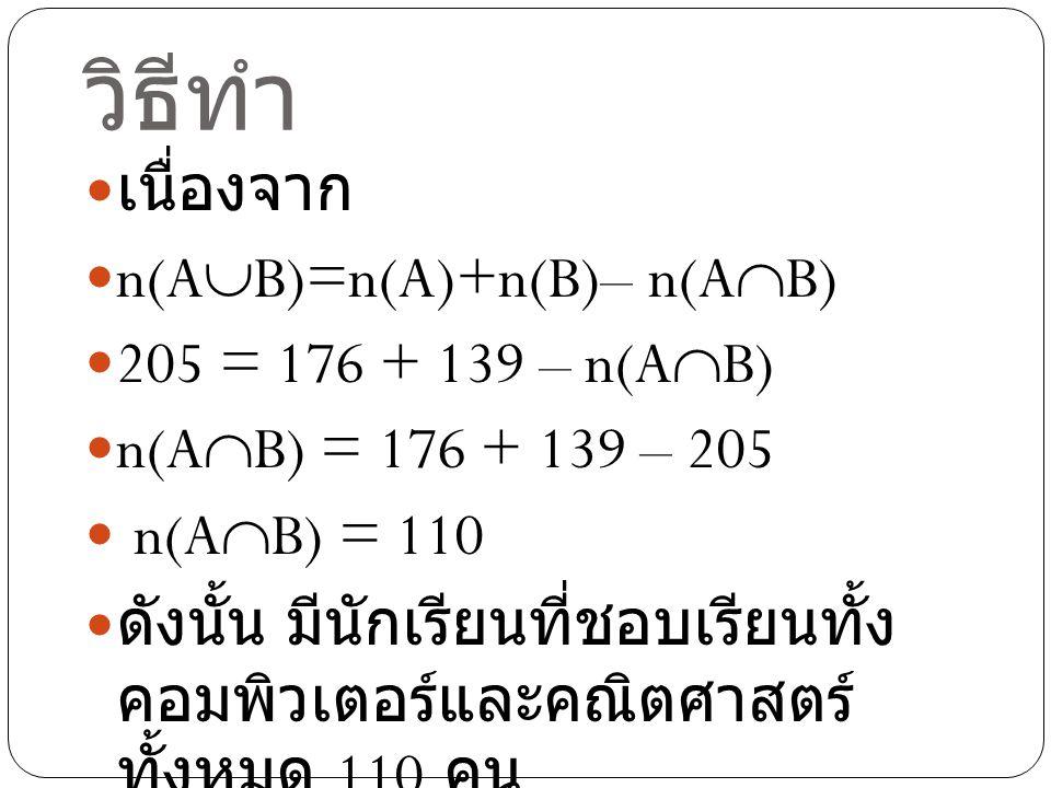 วิธีทำ เนื่องจาก n(AB)=n(A)+n(B)– n(AB) 205 = 176 + 139 – n(AB)