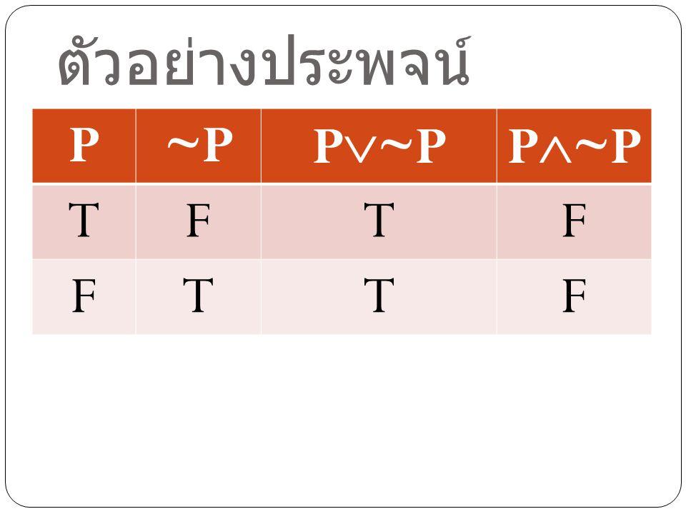 ตัวอย่างประพจน์ P ~P P~P P~P T F