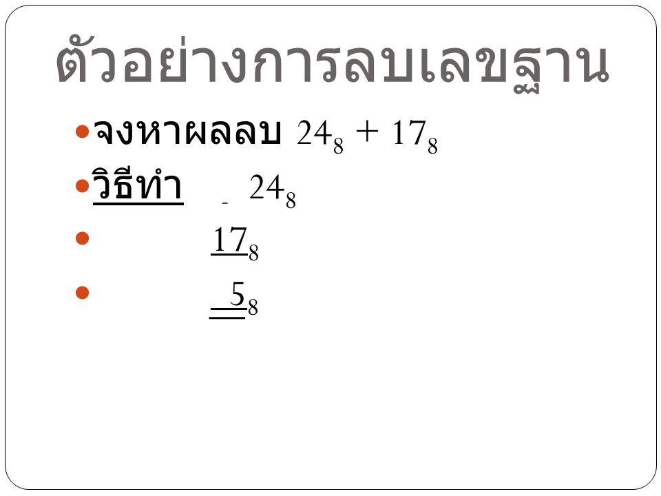 ตัวอย่างการลบเลขฐาน จงหาผลลบ 248 + 178 วิธีทำ - 248 178 58