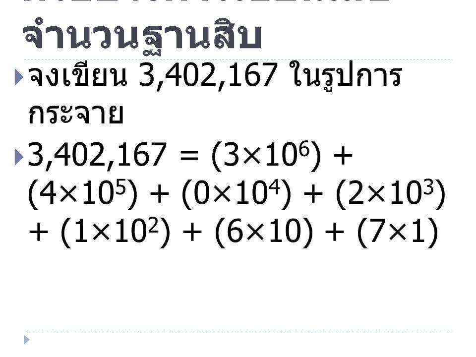 ตัวอย่างการเขียนเลขจำนวนฐานสิบ