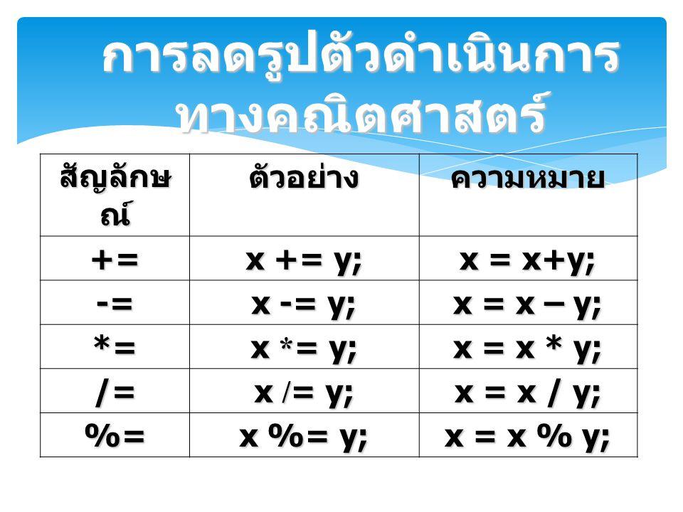 การลดรูปตัวดำเนินการทางคณิตศาสตร์