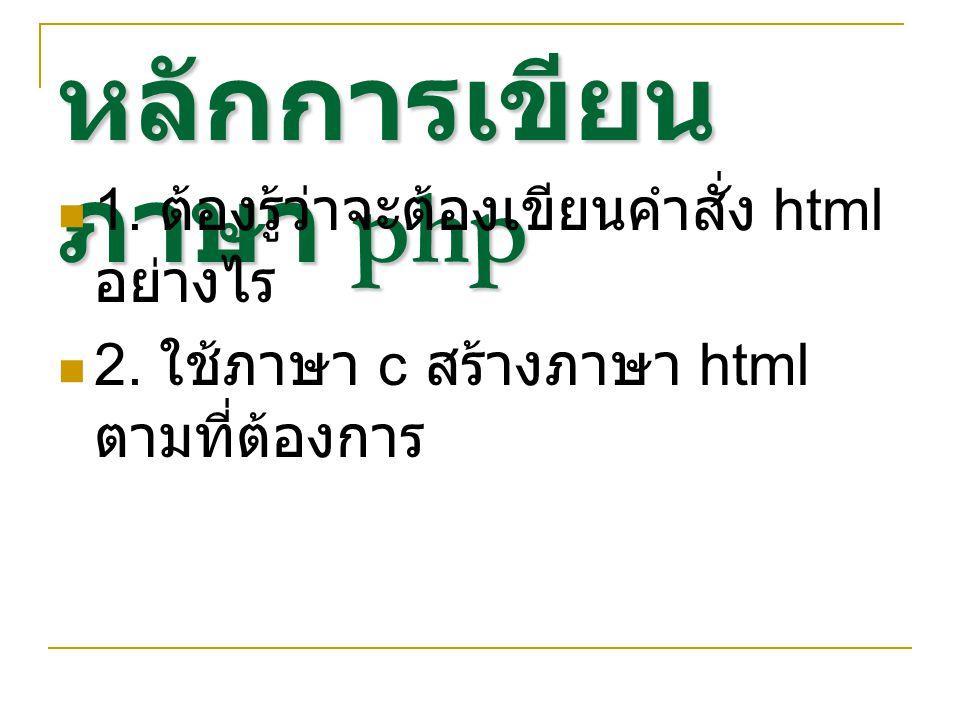 หลักการเขียนภาษา php 1. ต้องรู้ว่าจะต้องเขียนคำสั่ง html อย่างไร