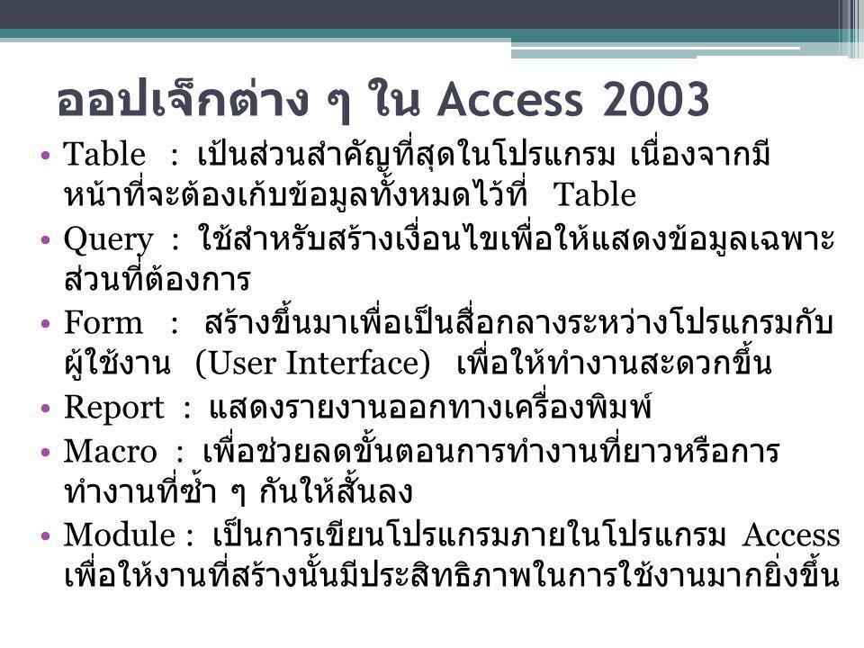 ออปเจ็กต่าง ๆ ใน Access 2003
