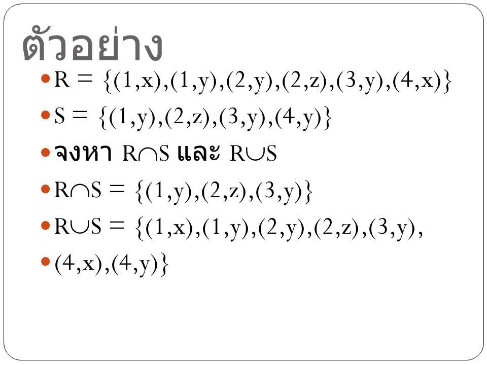 ตัวอย่าง R = {(1,x),(1,y),(2,y),(2,z),(3,y),(4,x)}
